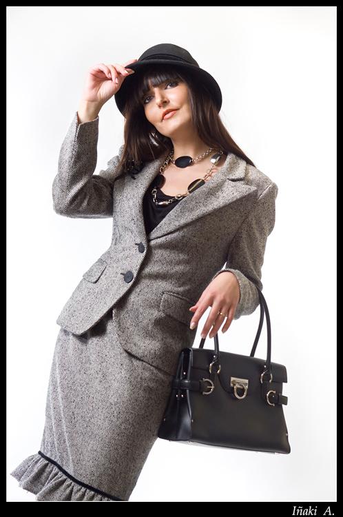 Woman with grey dress